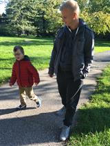 Nik with Matej on a walk